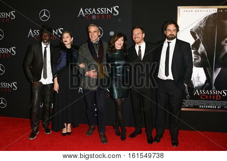 NEW YORK-DEC 13: (L-R) Michael K. Williams, Marion Cotillard, Jeremy Irons, Essie Davis, Michael Fassbender & Justin Kurzel at