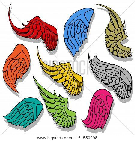 Illustration set wings in different colors on a white background.