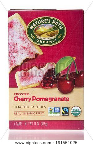 Alameda CA - March 28 2016: One 11 ounce box of Nature's Path Organic Toaster Pastries. Frosted Cherry Pomegranate flavor. Made with real organic fruit.