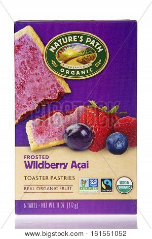 Alameda CA - March 28 2016: One 11 ounce box of Nature's Path Organic Toaster Pastries.Frosted Wildberry Acai flavor. Made with real organic fruit.