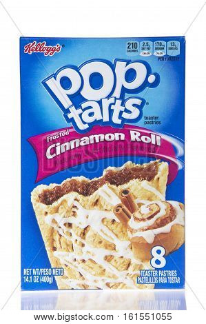 Alameda CA - March 28 2016: One 14.1 ounce box of Kellogg's brand Pop Tarts. Frosted Cinnamon Roll flavor. Naturally and Artificially Flavored.