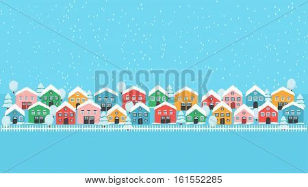 Winter city lane with bright houses, white fence and tress, falling snow fwstive landscape. Modern background decoration pattern wallpaper.