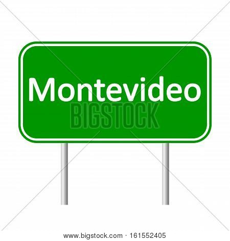 Montevideo road sign isolated on white background.