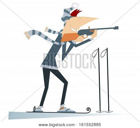 Biathlon competitor. Shooting biathlon competitor cartoon illustration
