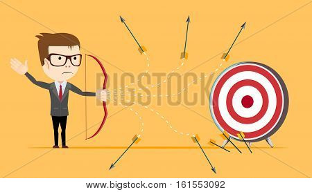Businessman - loser shooting arrow . Stock vector illustration