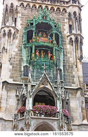 Glockenspiel on the Munich city hall, Germany