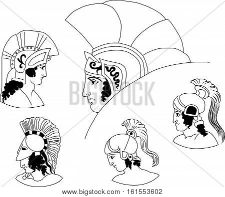 Set of images of ancient Greek warriors heads. Vector logo.