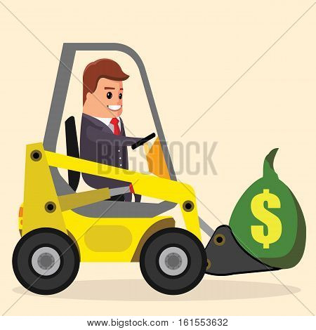 Vector businessman or manager driving a loader.