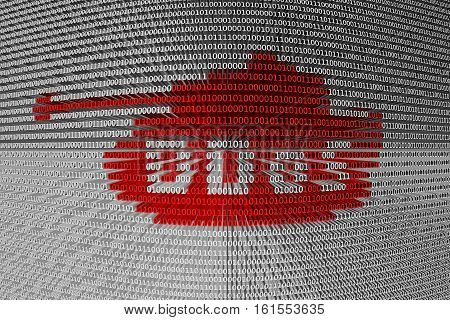 DDoS the tank in the form of binary code, 3D illustration