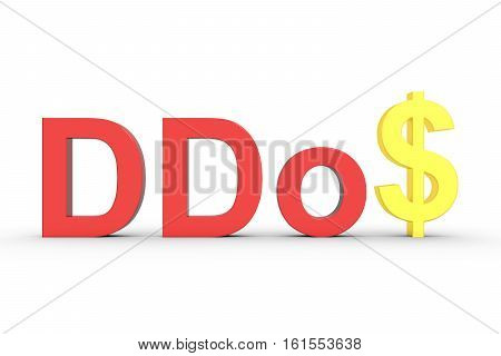 DDoS in the form of text with dollar on white background 3D illustration