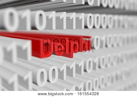 Delphi is represented as a binary code with blurred background 3d illustration