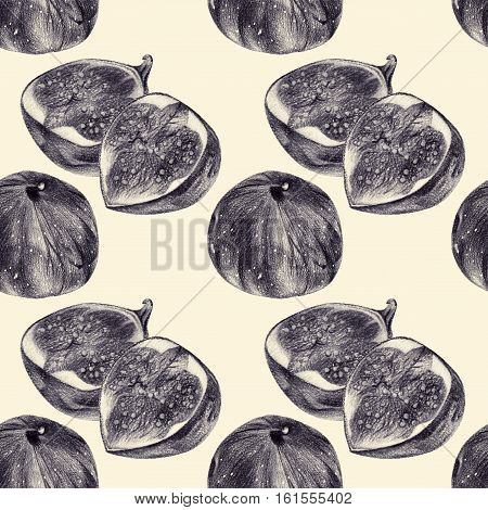 Seamless pattern with figs drawn by hand with pencil. Healthy vegan food. Fresh tasty fruits and berries painted from nature. Tinted black and white