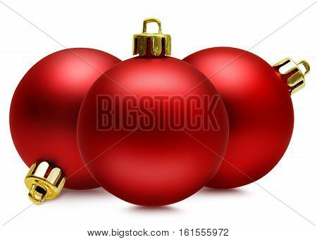 Three red christmas balls isolated over white with path