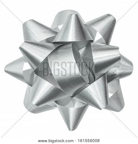 Silver bow isolated with clipping path, top view