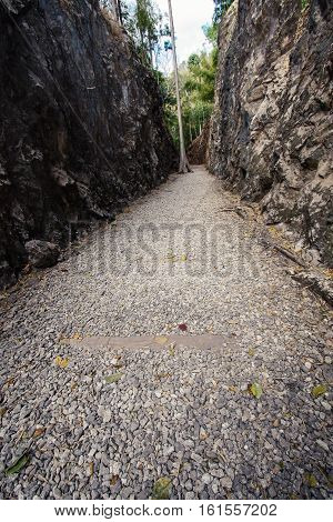 Natural path at the Hellfire Pass Trail, known as Death Railway - The Second World War memorial in Kanchanaburi, Thailand.