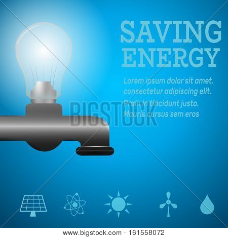 Ecology infographic.Luminous bulb on kitchen bathroom faucet on blue luminous background with Alternative energy resource logos-solar panelfusion powersolar electricitywind turbinehydro energy.