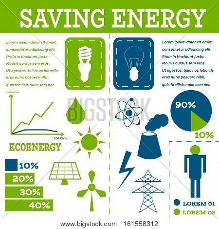 Ecology infographic-Fluorescent and Incandescent bulbs show difference between energy resources-solar panel, fusion power, solar electricity, wind turbine, hydro energy, smoking chimney, power line.