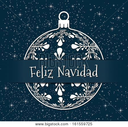spanish christmas greeting card white silhouette of christmas ball with text Merry Christmas on snowy blue background, spain holiday illustration