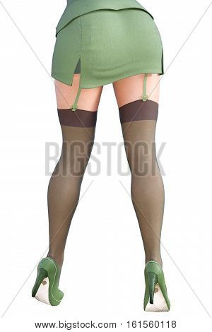 Girl in military khaki. Back view. Dark stockings with garters. Extravagant fashion art. Woman standing candid provocative sexy pose. Photorealistic 3D rendering isolate illustration. Studio.