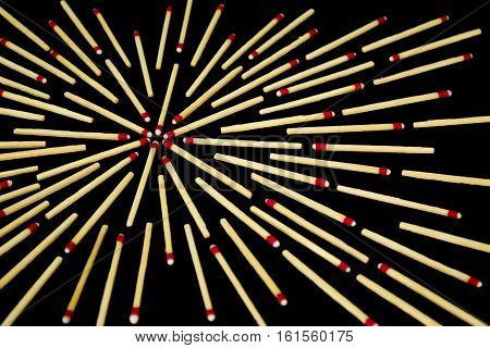 Complex Star Design With Matches, From Side, Isolated