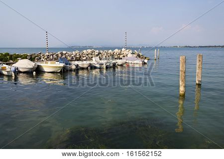 Desenzano Del Garda, Italy - July 30: Boats Anchor In Harbor On 30 July 2016 In Desenzano Del Garda,