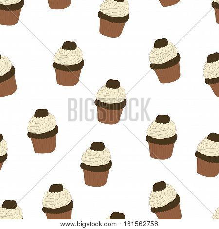 Seamless pattern with hand drawn and painted cupcakes. Vector graphic. Beautiful delicious sweets for girls. Creamy cakes illustration. White background.