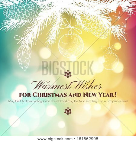 Vintage Christmas and New Year greeting card with handdrawn fir branches, bumps and christmas balls. Vector illustration