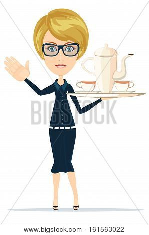 Waitress Slender girl carrying a tray with tea. Stock vector illustration