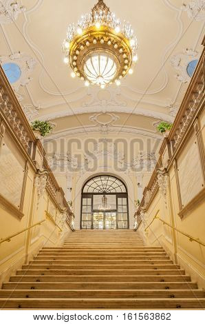 BUDAPEST HUNGARY - February 23 2016: Interior of the Museum of Agriculture in Budapest Hungary