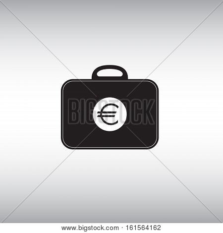 Bag with euro symbol vector flat icon. Investment portfolio isolated vector sign. Vector illustration of money case at grey background. E-commerce vector sign.