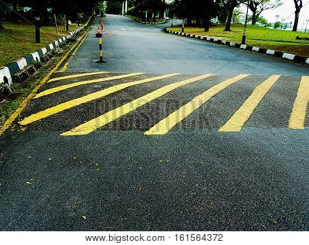 Road markings to indicate road humps signalling speed bumps on asphalt / tar road