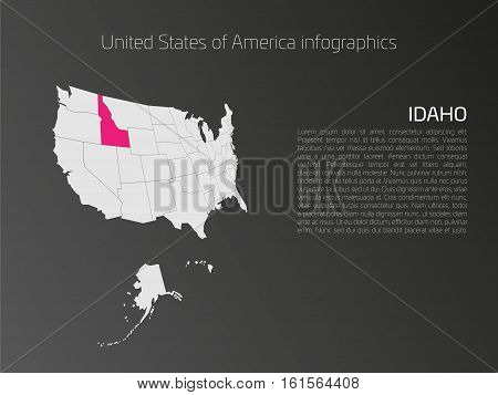 United States of America, aka USA or US, map infographics template. 3D perspective dark theme with pink highlighted Idaho, state name and text area on the left side.