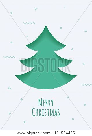 Christmas card with a green background in the style of the material design. Illustration can be used for mailing, greetings, advertising.