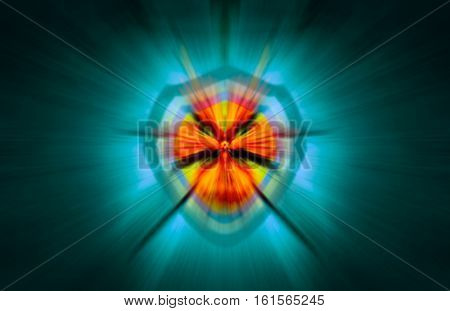 abstract motion blur background and security shield with a yellow lock blended altogether