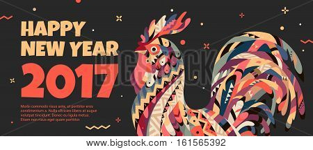 Tribal rooster on a black background. Rooster symbol of 2017. Banner with a cock for promotional offers and sales.
