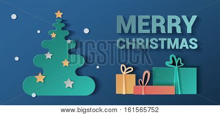 Banner Christmas. Style realistic paper. Christmas pattern can be used in advertising, website, flyer. background with presents and christmas tree.