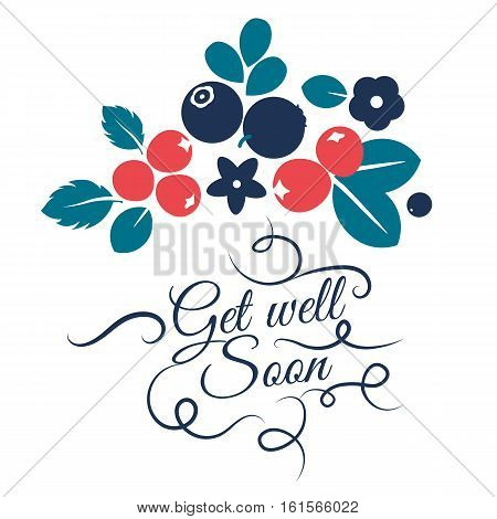 Vector flat flowers leaves and berries color silhouette background. Get well soon Creative design illustration