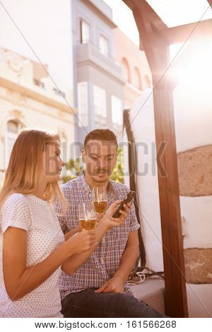 Millenials With Some Beers And Cellphone