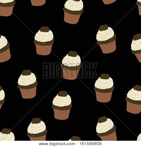 Seamless pattern with hand drawn and painted cupcakes. Vector graphic. Beautiful delicious sweets for girls. Creamy cakes illustration. Black background.