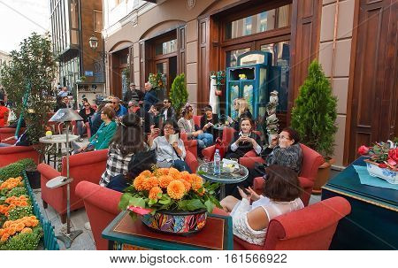 TBILISI, GEORGIA - SEP 25, 2016: Older women sitting in a outdoor restaurant talking and enjoying together during the weekend on September 25, 2016. Tbilisi has population of 1.5 million people