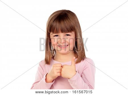 Happy small girl smiling isolated on a white background