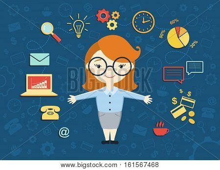 Vector illustration of young business woman personal assistant or hard working secretary. Busy secretary managing her work with a smile. Business idea concept with icons of office work and ecommerce