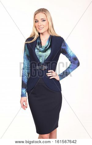 blond hair woman with straight hair style in blue blouse skirt and vest close up photo isolated on white