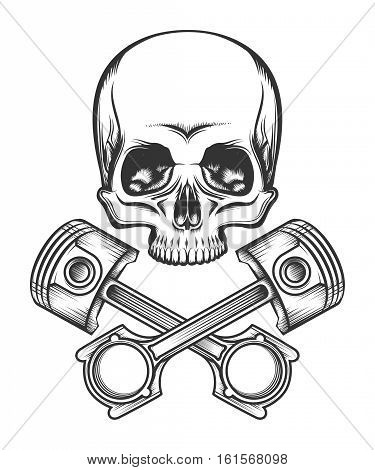 Human skull and crossed engine pistons. Isolated on white vector illustration.
