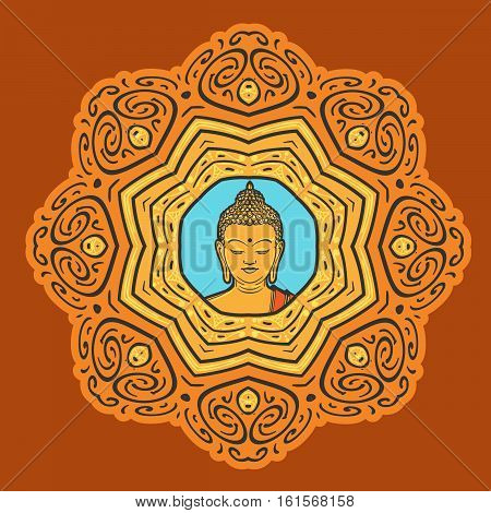 Buddha face over ornate mandala. Esoteric vintage vector illustration. Indian, Buddhism, Thai spiritual decor element.