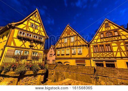 Rothenburg ob der Tauber historic town downtown at night, Franconia, Bavaria, Germany