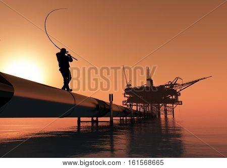 Man fishing on the tube..3d render