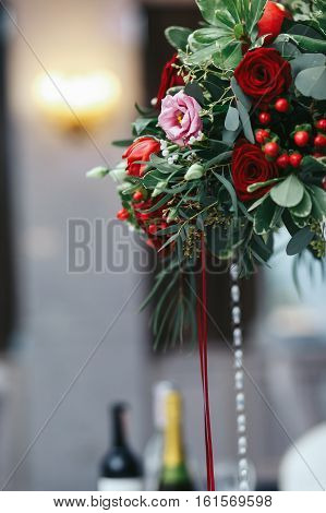 Red Bouquet Of Roses And Ranunculus Decorated With Crystals And Ribbon