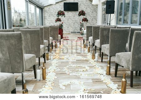 Aisle Between Chairs Prepared For The Newlyweds Walk