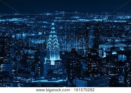 New York City - SEP 11: Chrysler building at night on September 11, 2015 in New York City. Art Deco style skyscraper, it is the tallest brick building in the world and famous landmark of Manhattan.